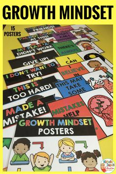Motivate your students with these 15 colorful posters. These are perfect to encourage a growth mindset in the classroom. Help your students understand that their abilities and talents can be developed through effort and positive thinking.