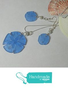 Light blue sea glass sand dollar pendant necklace and earrings set with pearls and silver by BethExpressions Sea Glass Necklace, Blue Necklace, Sea Glass Jewelry, Pendant Necklace, Beach Jewelry, Jewelry Sets, Earring Set, Crochet Earrings, Light Blue