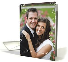 just married, photo card, contemporary, elegant card