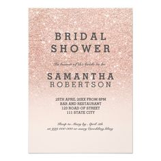 Rose gold faux glitter pink bridal shower card