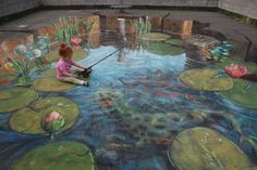 pavement art sidewalk art - only chalk used street art 3d Street Art, 3d Street Painting, Amazing Street Art, Street Art Graffiti, Street Artists, Amazing Art, Awesome, Chalk Drawings, 3d Drawings