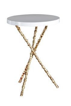 "Jim's Office: small side table in white top with silver leaf legs (not gold as shown), 15.75"" d x 22"" h"