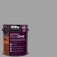 Cape Cod Gray Smooth Solid Color Exterior Wood and Concrete - The Home Depot BEHR Premium Advanced DeckOver 1 gal. Home Depot, Behr, Decorative Screen Panels, Waterproof Paint, Concrete Coatings, Concrete Wood, Red Barns, Acrylic Resin, Paint Stain