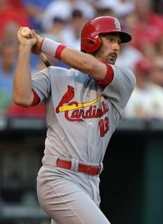 Matt Carpenter hits a RBI single in the fourth inning against the Kansas City Royals. Cards lost the game 3-2.  6-05-14