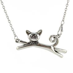 Stretch Cat Curly Tail Silver Pendant Necklace  Price: 4.21 & FREE Shipping  #pets #dog #doglovergifts