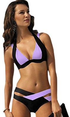 571da857492c5 IF FEEL Womens Sexy Purple Black Double Color Crisscross 2 Piece Padded Push  Up Bandage Bikini