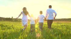 family running happy in paradise