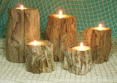 Driftwood Tea Light Candle Holders Beach by ChersCottagebytheSea, $45.00