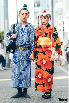 Harajuku Yukata Street Styles w/ Pink Hair, Sailor Moon & Thrasher High Street Fashion, Japanese Street Fashion, Tokyo Fashion, Harajuku Fashion, Kimono Fashion, Korean Fashion, Asian Street Style, Tokyo Street Style, Street Styles