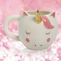 Dreamy Unicorn Mug ❤ liked on Polyvore featuring home, kitchen & dining, drinkware, heart mug, heart shaped mug and unicorn mug