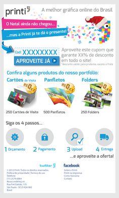 """Email Marketing """"Presente de Natal 2012 da Printi"""" com ilustração de Cartões de visita, Panfletos e Folders"""