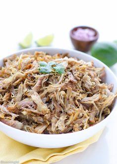 Easy to make slow cooker pulled pork carnitas - tender pull apart pork that tastes amazing.
