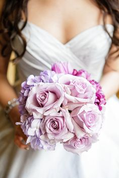 Lavender rose and hydrangea bridal bouquet | Petronella Photography & Ashley Gerrity Photography | see more on: http://burnettsboards.com/2014/03/steel-grey-radiant-orchid-bridal-session/