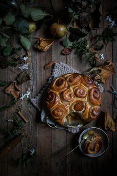 jasmine poached caramel apple bottomed cinnamon buns - twigg studios Pastry Recipes, Tea Recipes, Sweets Recipes, Dinner Recipes, Poached Apples, Baking Buns, Brioche Recipe, Jasmine Tea, Homemade Butter