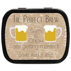 Perfect Blend Personalized Engagement Mint Tins Get off sitewide with coupon at checkout - Engagement Party Favors, Wedding Party Favors, Edible Favors, Mint Tins, Getting Married, Drinks, Weddingideas, Coupon, Coffee