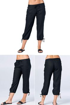cf64c31eb29c Mariyaab Women s Wide Leg Casual 100% Linen Capri Pants with Drawstring and  Leg tie