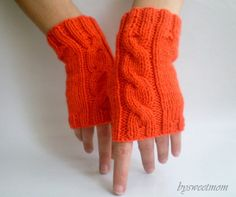 Braided Cable Knit Orange Fingerless Gloves