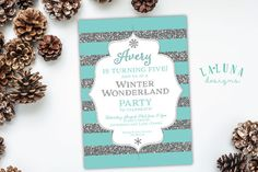 Winter Birthday Invitation Winter Invitation by LaLunaDesigns