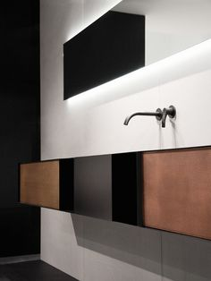 Wall-mounted plate vanity unit with doors Zero20 Collection by Moab 80 | design Gabriella Ciaschi, Studio Moab