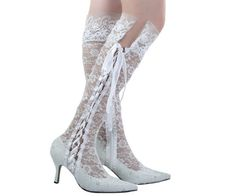 Womens Fashion Customized Hand Made Mid Heel Lace Bridal Wedding Knee-high Boots #LaceUps