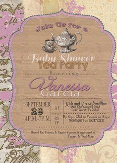shabby chic tea party invitation bridal baby shower birthday tea, invitation samples