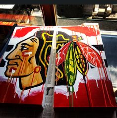 Chicago Blackhawks logo acrylic painting. Diptych.