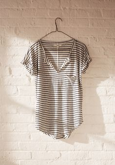 Madewell. I like stripes. Fit looks good. I like the sleeves. Might be too low cut though