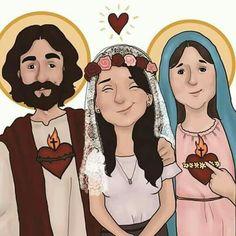 Santidade Christian Artwork, Christian Images, Catholic Art, Religious Art, Jesus Cartoon, Jesus E Maria, Jesus Is Life, Mama Mary, Jesus Art