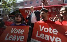 Boris Johnson MP addresses members of the public in Parliament St, York