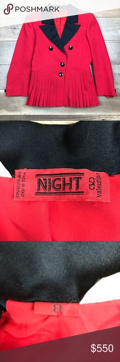 Vintage Night Valentino Red Jacket Vintage Night Valentino Red two-button jacket. Excellent condition. Wear consistent with age and use. Valentino Jackets & Coats Blazers
