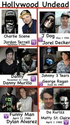 Hollywood undead birthdays and zodiacs. Hollywood Undead Believe, Hollywood Undead Quotes, Hollywood Undead Members, Music Tv, Music Bands, Princess Music, Rap Metal, Band Pictures, Band Memes
