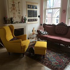 living room with #yellow #chair