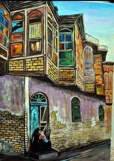 Iraqi art by Iraqi artist Abbas AlZahawi الفنان العراقي..عباس الزهاوي..خانقين 1956....شناشيل بغدادية............ Sans Art, Middle Eastern Art, Mosaic Tile Art, Arabian Art, Art Optical, Egyptian Art, Old Art, Artist Painting, Islamic Art