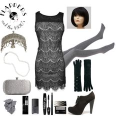 DIY last minute Flapper 20s Black and White Costume - Polyvore