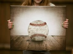 16x20 Canvas Signed Ready to Hang, Vintage Single Baseball On Barnwood, Wall Decor, Wall Art,  Kids Room, Nursery Ideas on Etsy, $125.00