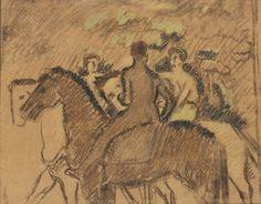 Jan Preisler, Tři jezdci (1912–13) Paul Gauguin, Palace, Art Nouveau, Moose Art, Pastel, Fine Art, Artist, Animals, Painting