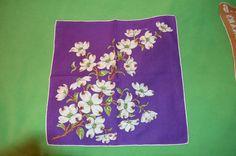 Vintage Hankie in Purple Featuring White Dogwood by FaireGloriana, $5.50
