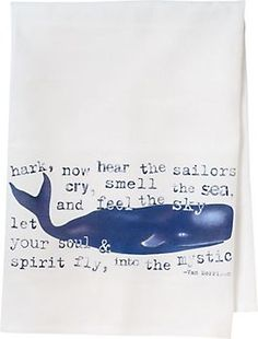 Have a whale of a time in your kitchen with this whimsical tea towel featuring a friendly whale and Van Morrison quote.