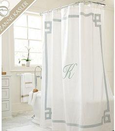 Custom Shower Curtain -Simplicity in White or Cream with monogram ...