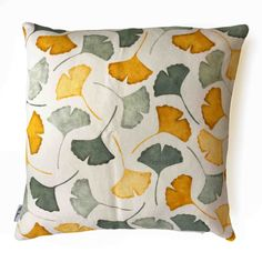 END OF SEASON SALE: off 50 x 50 cm off white linen pillow sleeve with green and ochre handprinted gingko leaf motif. Linen Pillows, Cushions On Sofa, Throw Pillows, Gingko Leaf, Green Lounge, Retro Print, End Of Season Sale, Mustard Yellow, Cushion Covers