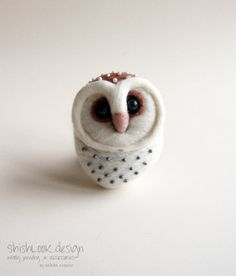 Barn Owl Hand Felted Brooch Animal Pin Owl by ShishLOOKdesign