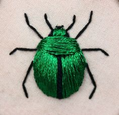 Stumpwork fascinates me. Stumpwork beetle (green june bug - Cotinus nitida) inspired by the work of Jane Nicholas and Di van Niekerk. Crewel Embroidery, Ribbon Embroidery, Cross Stitch Embroidery, Embroidery Patterns, Embroidery Floss Crafts, Embroidery Stitches Tutorial, Embroidery Needles, Art Patterns, Japanese Embroidery