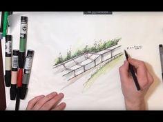 Hand Rendering a Landscape Design Perspective - YouTube Landscape Design Plans, Landscape Architecture, Rendered Plans, Building Design, Make It Simple, The Help, Garden Design, Backyard, How To Plan