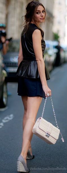 Street Style | Obsessed with Olivia Palermo's style. Love the leather peplum shirt!!