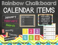 ***UPDATED July 2014***Use this fun rainbow chalkboard themed calendar packet to spruce up your calendar time this year!  In this packet you will find the following:12 Months of the Year headers7 Days of the Week headersCalendar number cardsWeather GraphDays in School 10-frames (0-200)This packet is also available in my Chalk It Up!