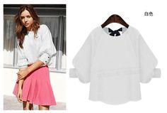 Chiffon Lantern Sleeve Solid Blouse With Bow In Back O Neck White/Navy Plus Size Women Tops And Blouses