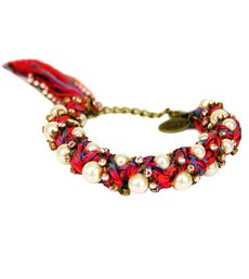 Ambre Babzoe Pink Rhinestone & Pearl Bracelet