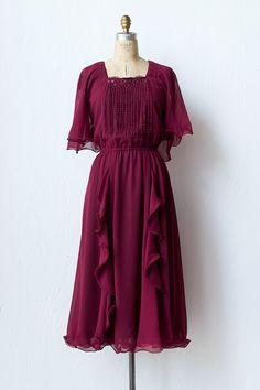 vintage 1970s ruffles tassel party dress