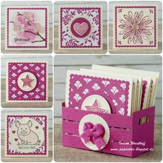 handmade set of mini cards from Kreativkiste . luv the paper crate to hold them . Stampin' Up! Cute Cards, Diy Cards, Stampin Up Catalog, Small Cards, Stamping Up Cards, Scrapbooking, Flower Cards, Greeting Cards Handmade, Making Ideas