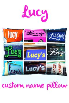 Love this custom name pillow featuring LUCY in sign photos! Such a cute gift for a tween or teen girl, and also creates the  perfect personal touch to any dorm room decor :-)
